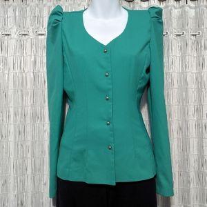 Vintage Puffy Sleeve Collarless Suit Top / Jacket